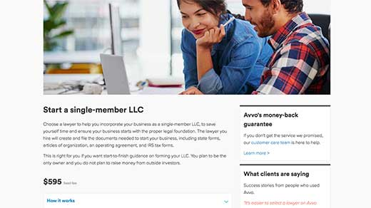 Avvo Legal Services business service: start a single-member LLC screenshot