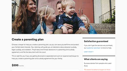 Avvo Legal Services family service: create a parenting plan screenshot