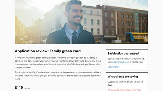Avvo Legal Services immigration service: application review - family green card screenshot