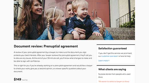 Avvo Legal Services family service: document review - prenuptial agreement screenshot