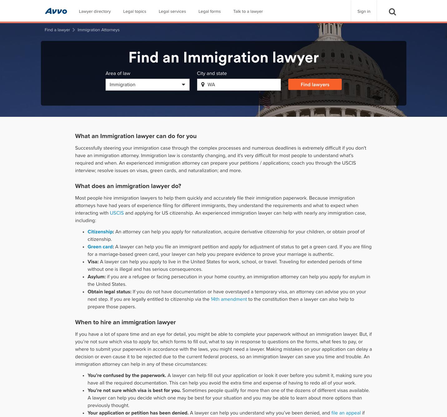 Avvo Lawyer Directory