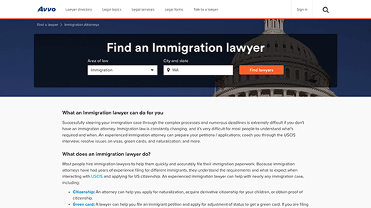Lawyer Directory Page Find an Immigration Lawyer screenshot