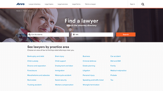 Lawyer Directory Page screenshot