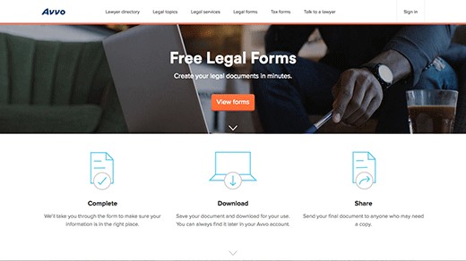 Legal Forms Page screenshot