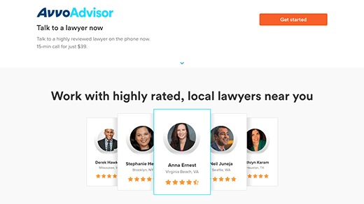 Legal Services Page Avvo Advisor screenshot