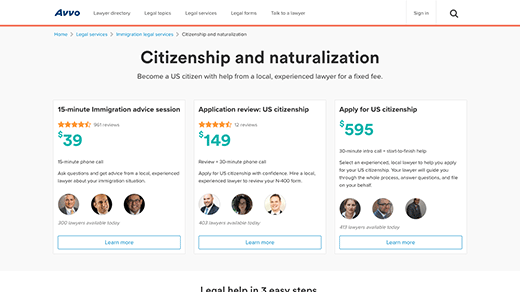 Legal Services Page Citizenship and Naturalization screenshot