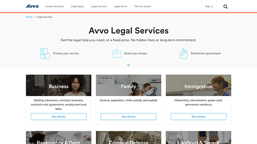 Legal Services Page screenshot