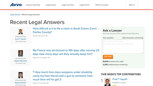 Recent Legal Answers Page screenshot